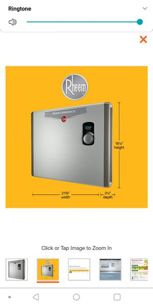 Rheem Tankless Hot Water Heater for Sale in Baltimore, MD