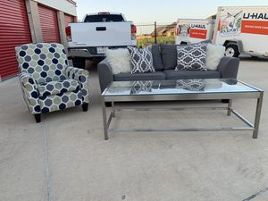 Can deliver - grey couch sofa recliner chair coffee table for Sale in Burleson, TX