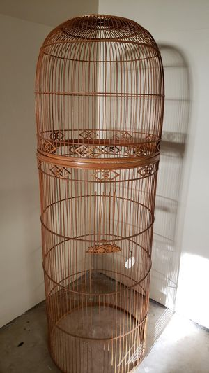 Decorative Stick Hand Made Asian Bird Cage - 4' tall for Sale in Fallbrook, CA