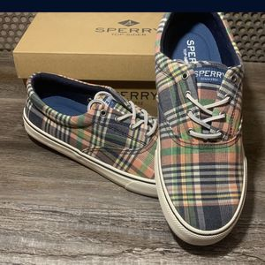 Sperry Men's Size 10.5 Striper 2 CVO Kick Back Plaid Sneakers NEW for Sale in St. Peters, MO