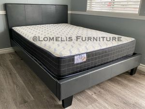 Queen Gray leatherette bed w. Orthopedic mattress included for Sale in City of Industry, CA