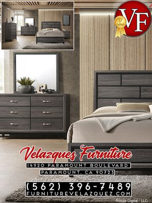 **LOW PRICE** CONTEMPORARY QUEEN BED+NIGHTSTAND+DRESSER+MIRROR (mattress not included) $548 for Sale in Santa Ana, CA