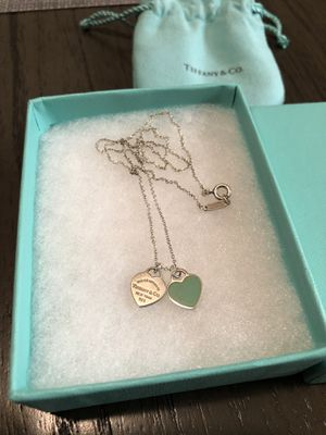 Tiffany necklace double heart tag pendant for Sale in Carlsbad, CA