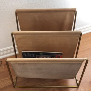 Vintage Gold Frame Leather Magazine Rack for Sale in Newport Beach, CA