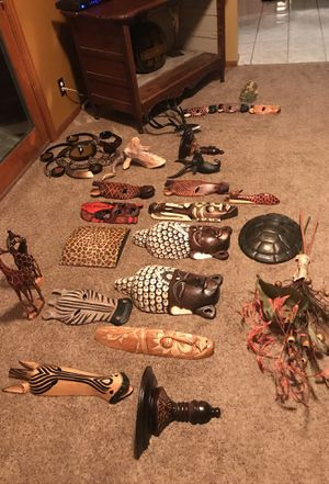 African wall Decour, shelving, and wooden figures for Sale in Marysville, OH