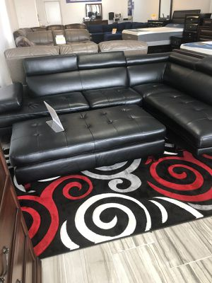 Ibiza Black Sectional Sofa and Ottoman Set $699. NO CREDIT CHECK FINANCING for Sale in Tampa, FL