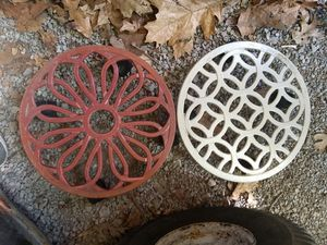 "2 - 12"" dia plant caddy holders with wheels, cast iron for Sale in Freedom, PA"