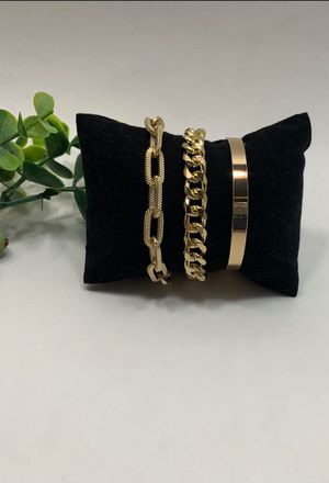 Punk Style 3pcs/Set Curb Cuban Multilayer Link chain bracelet, Gold Color for Sale in Irvine, CA