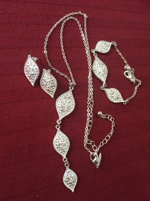 Silver sterling earrings locket pendant bracelet set for Sale in Bronx, NY