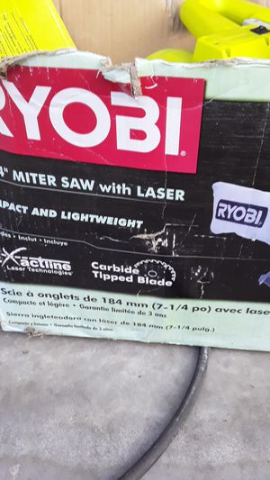 Ryobi 7-1/4 miter saw with laser for Sale in Spring Hill, FL