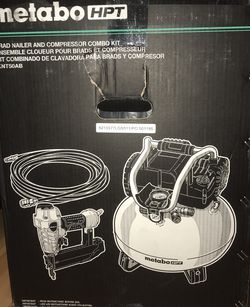 Metabo HPT (Hitachi) 6 Gallon Air Compressor +Brad Nailer + Hose for Sale in Woodway,  WA