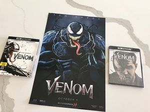 BRAND NEW VENOM 4K BLU RAY COMBO PACK + POSTER for Sale in Frisco, TX