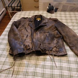 Rare 1990s Vintage Protect Stress Letter Motorcycle Jacket Size 52 This Is A Rare Jacket No Shipping for Sale in Mill Hall, PA