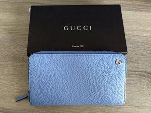 GUCCI 449347 Interlocking G Leather Zip around Wallet, Blue for Sale in Torrance, CA