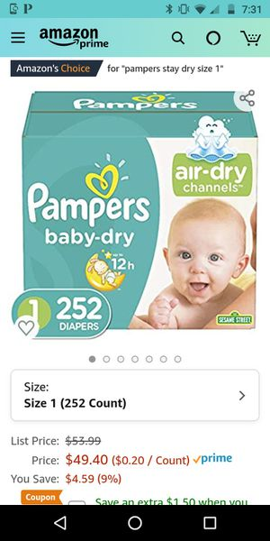252 Size 1 Pampers for Sale in Greer, SC