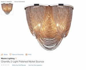 Chantilly wall sconce 2 light fixture total of 4 sconces local pickup only $75 each for Sale in Miami Beach, FL