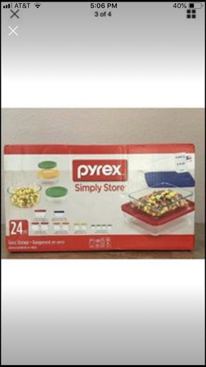 Pyrex 24 piece set of 12 glass containers for Sale in Carrollton, TX