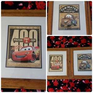 2006 DISNEY PIXAR CARS LIGHTING MCQUEEN MATTED WALL HANGING PICTURE for Sale in San Jose, CA
