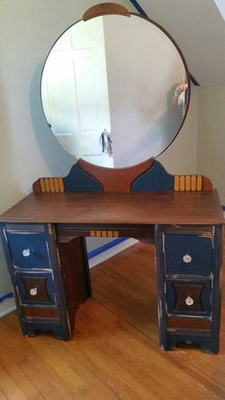 Re-purposed dresser with beautiful round mirror and chair for Sale in Clinton,  IA