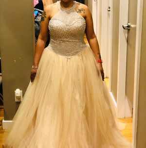 Haltered Champagne color gown w/corset back for Sale in Chicago Heights, IL