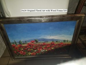 24x36 Original Floral Art with Wood Frame $40 for Sale in Dresden, OH