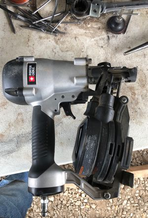 "Porter cable coil roofing nail gun 3/4 to 1-3/4 "" asking 120 used on one roof only few months old new price is 220 for Sale in Beaumont, CA"