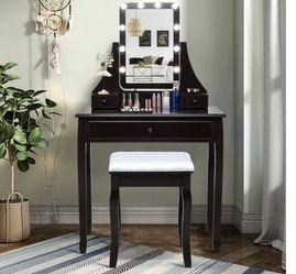 10 LED Lighted Rotating Mirror and 3 Drawers Vanity Table Set with Cushioned Stool for Sale in Laguna Hills,  CA