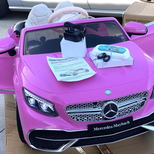 BRAND NEW Pink Mercedes Benz Maybach S650 12volt REMOTE CONTROL MODEL MODEL Electric Kid Ride On Car power wheels Real Leather Seat & Rubber Tires for Sale in Long Beach, CA
