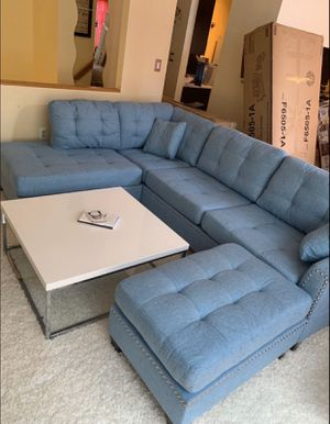 Aqua Blue Sectional Couch for Sale in Alexandria, VA