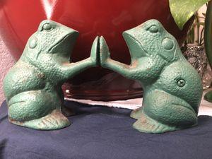 Vintage Cast Iron Green Frog Bookends/Door Stops/Paperweights/Home Decor/Garden Decor for Sale in Oceanside, CA