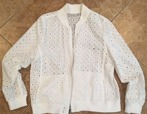 White Liz Claiborne lace jacket coat sweater hoodie large for Sale in Rancho Cucamonga, CA