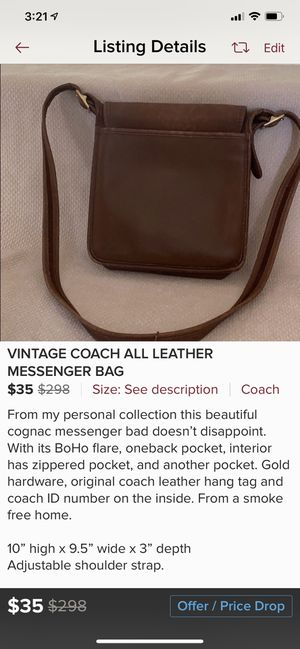 Vintage all leather coach messenger cross body bag for Sale in Tigard, OR