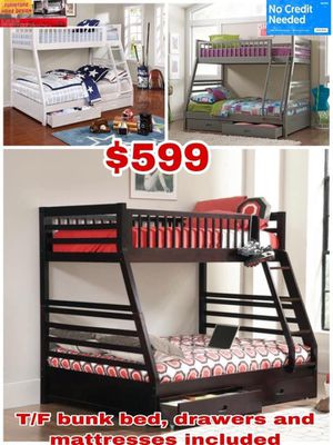 T/F bunk bed , drawers and mattresses included for Sale in Visalia, CA