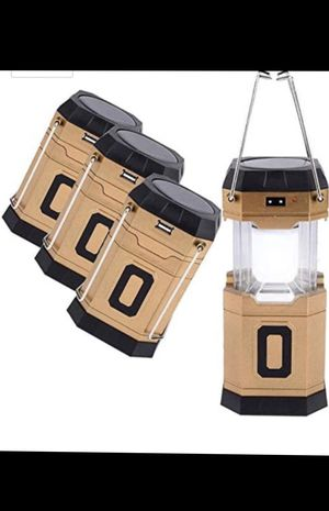 1x Solar Lantern, Solar Rechargeable or 3 AA Battery Powered Outdoor LED Camping Light for Sale in Seattle, WA