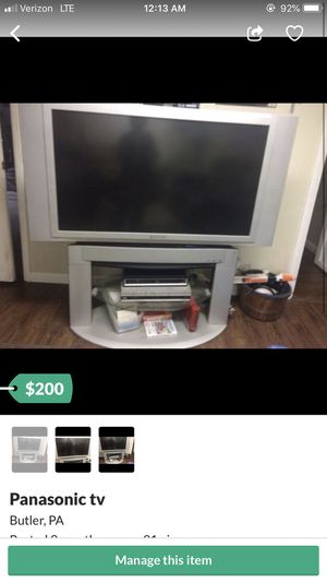 50 in Panasonic TV for Sale in Butler, PA