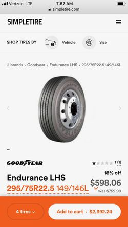 Goodyear semi truck tire for Sale in Downey,  CA
