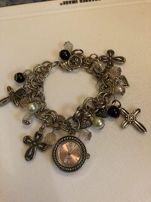 Cute silver/cross/ pink dial watch bracket for Sale in Gaston, SC