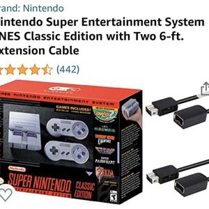 Nintendo Super Entertainment System SNES Classic Edition with Two 6-ft. Extension Cable for Sale in Mesa, AZ