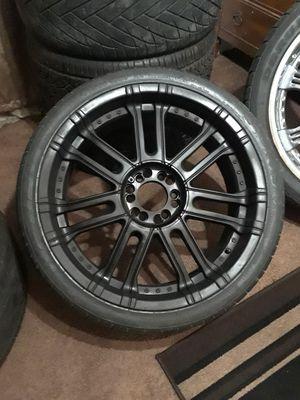 Size 22 universal 6 lug Tyfun Black Rims w low profile tires for Sale in Seagoville, TX