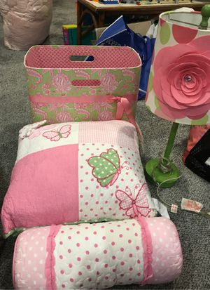 Girls throw pillows, lamp and bin for Sale in Philadelphia, PA