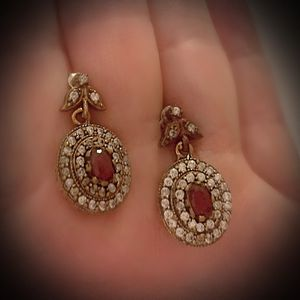 PIGEON BLOOD RED RUBY FINE ART POST EARRINGS Solid 925 Sterling Silver/Gold WOW! Brilliantly Faceted Oval Cut Gems, Diamond Topaz M6285 V for Sale in San Diego, CA