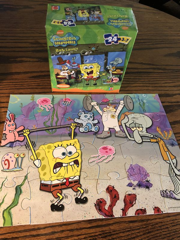 Soongebob puzzle with sandy, Gary, jelly fish and squidward in Bikini Bottom - fun for children! family game night!