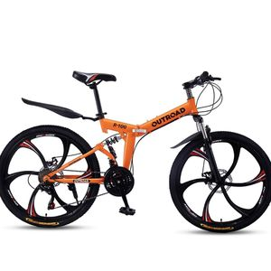 Mountain bike bicycles fold foldable Orange 26 inch 21 speed brake disc for Sale in Corona, CA