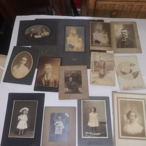 Antique cabinet card photo lot. 13 cabinet cards and one hand-colored for Sale in West Palm Beach, FL