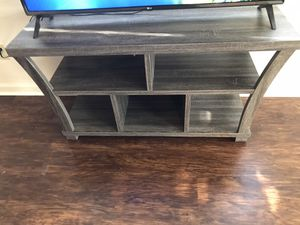 Gray Wood 50in tv stand for Sale in Tulsa, OK