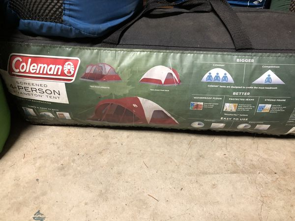 Camping Supplies, 4 Person Tent, mosquito Screened canopy, Self Inflating Twin Air Beds Etc