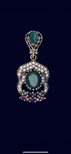 Hurrem Sultan Roxelana Antique Style Emerald Ruby Topaz Bell Silver Pendant for Sale in Nashville, TN