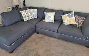 Cute Gray Nail Head Sectional Sofa for Sale in Garland, TX