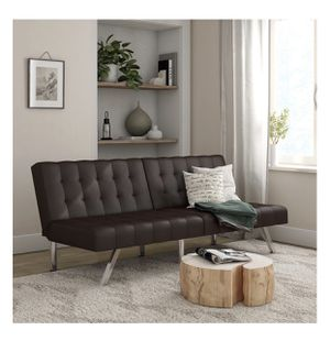 Contempo Brown Faux Leather Sofa Futon with Chrome Legs, Retails $259, Our Price $169 for Sale in Houston, TX