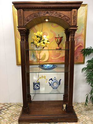 Hand Carved Wood China Display Curio Cabinet Book Shelves (Delivery Service Available) Have 2 Available for Sale in Boynton Beach, FL